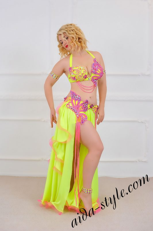 Handmade Professional Belly Dance Outfit with circular skirt with underpants
