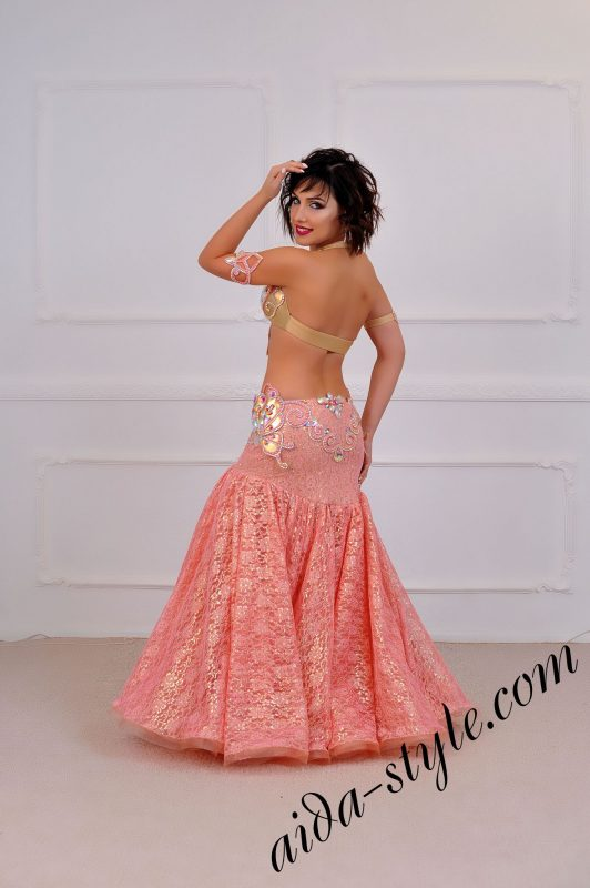 baby pink royal style unique belly dance design by aida style (1) with wide bouffant skirt