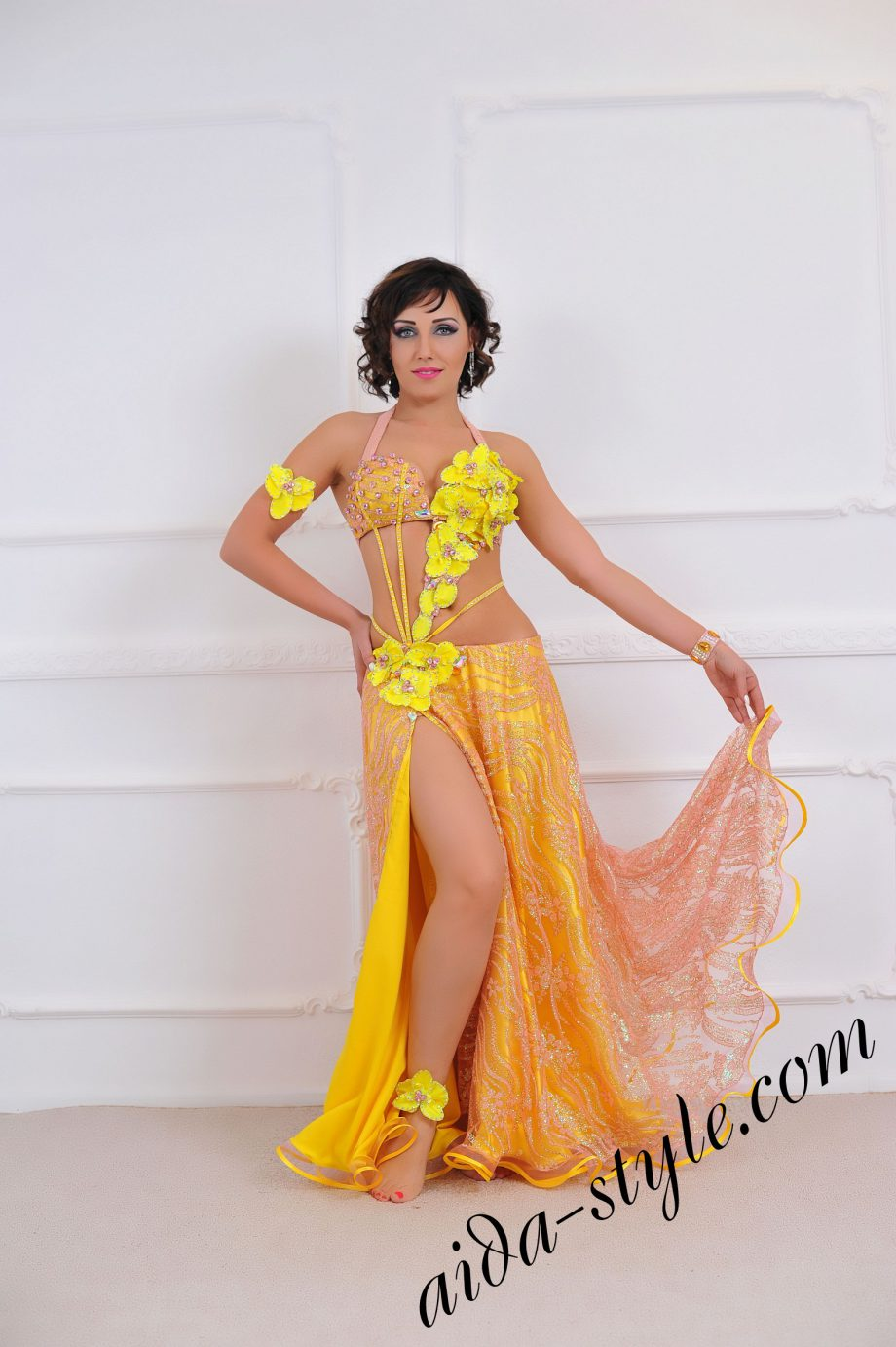 belly dance costume with covered stomack, wide circular skirt, by Aida Style