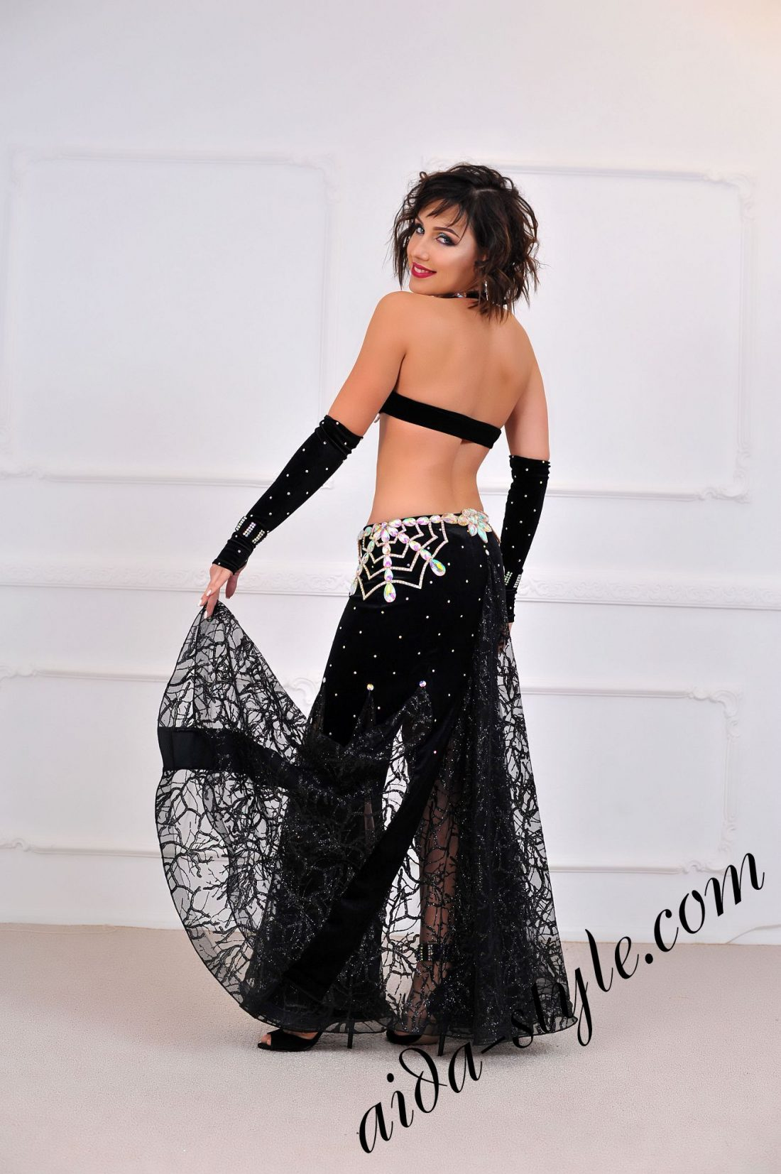 black belly dance costume with mermaid skirt and separate belt