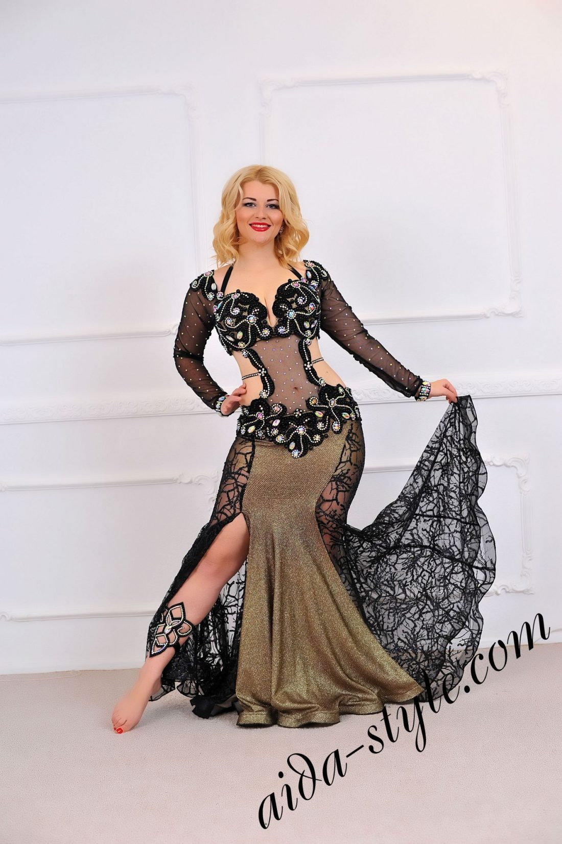 black belly dance dress with covered belly and mermaid skirt (1)