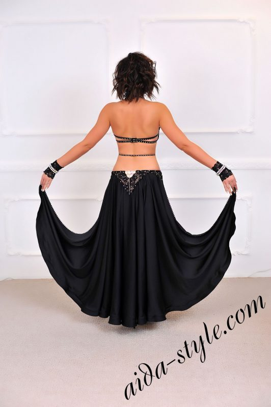 black sexy belly dance costume (4) with lace and free skirt