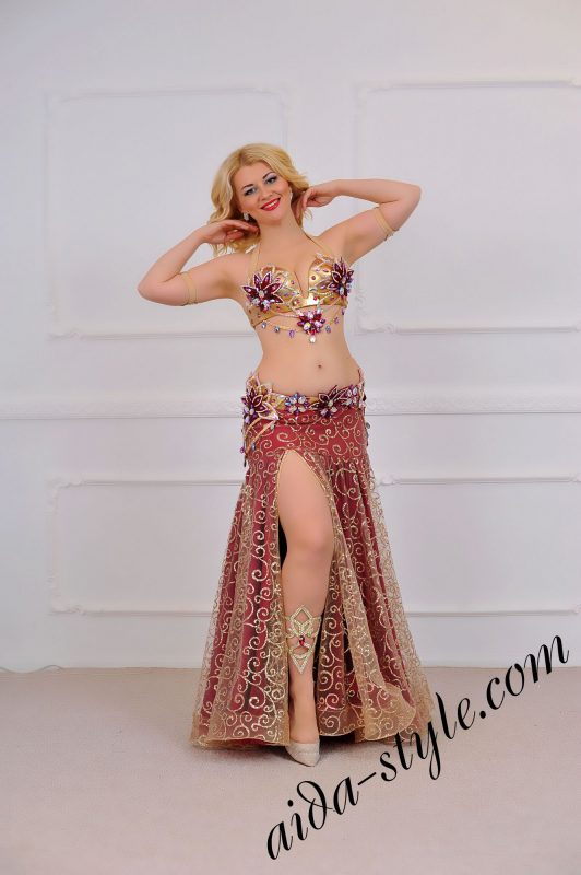 bordeaux royal style unique belly dance design by aida style (1) with wide bouffant skirt