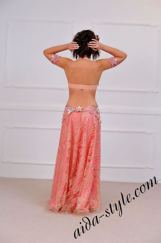 bouffant wide skirt belly dance costume (1) in baby pink color
