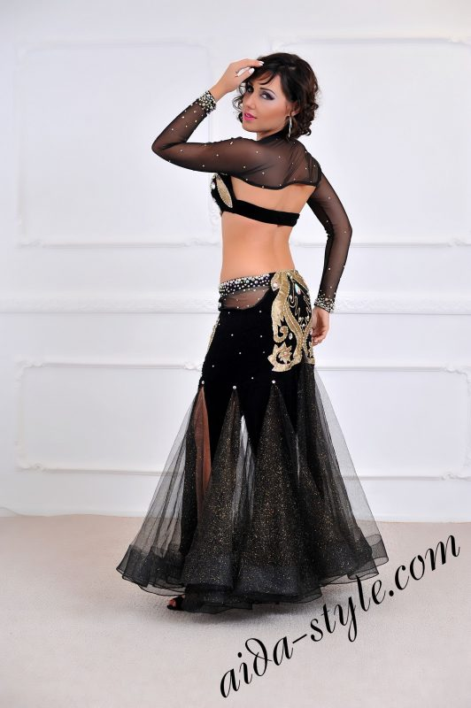 black and gold designers belly dance costume for stage with mermaid skirt