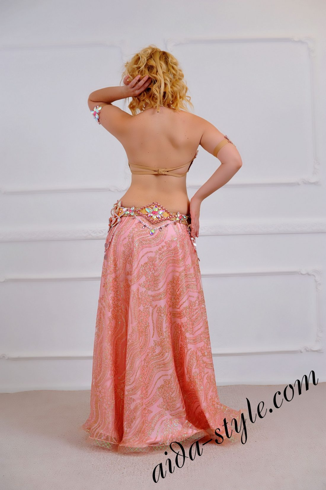 full belly dance costume with bra, belt, wide semi circular sparkling skirt and accessories