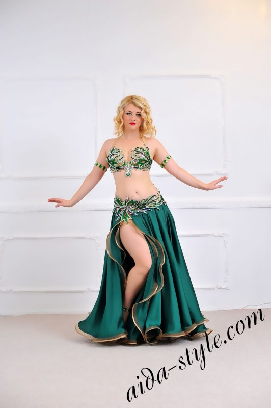 green full belly dance costume with wide flare skirt