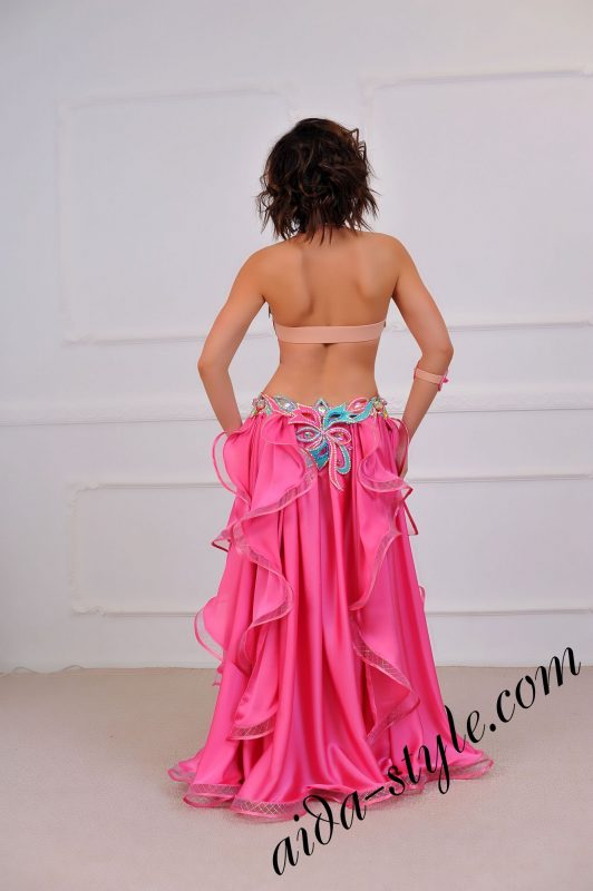 hot pink belly dance costume with wide circular skirt (1) by Aida Style