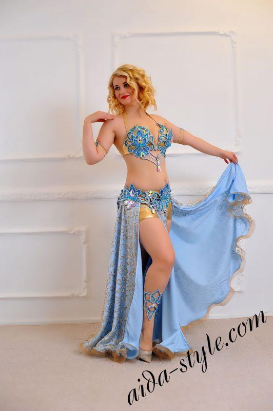 blue belly dance set, separate, detachable belt with wide flare sparkling skirt (1)