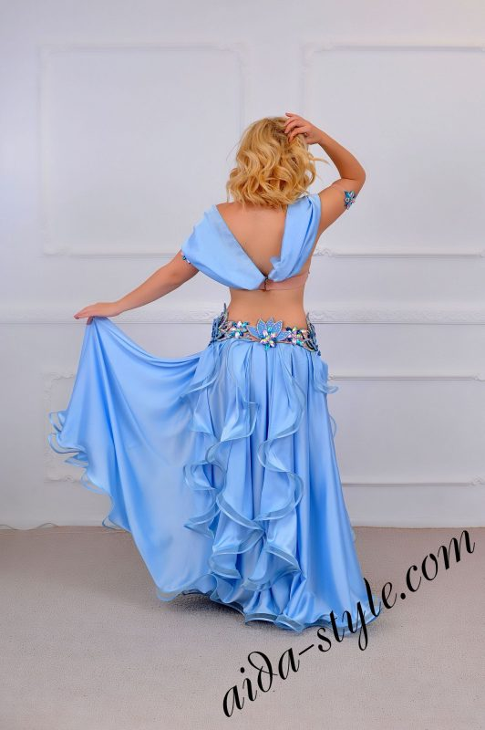 light blue belly dance costume for pro dancers (1) with separate belt