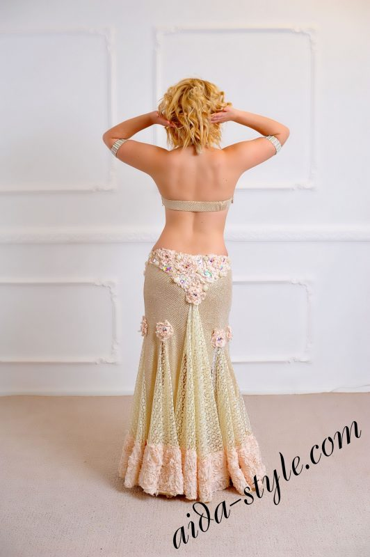 luxurious and decoration rich designers belly dance costume for stage performance by Aida Style