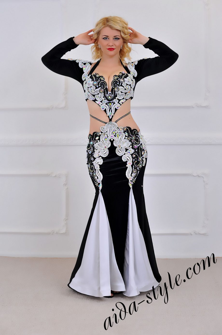 luxurious and stylish white and black designers belly dance costume for stage (1) by Aida Style