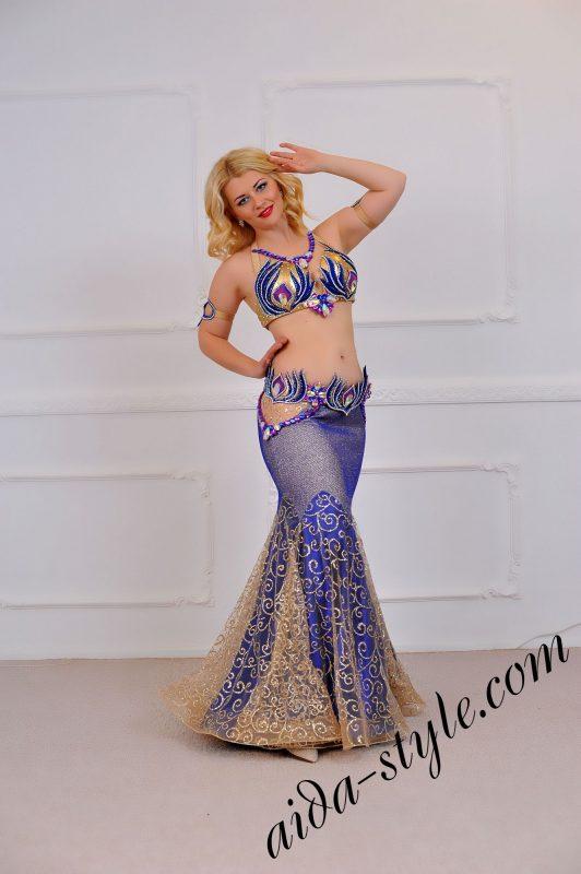 mermaid skirt blue belly dance costume (1) with separate belt