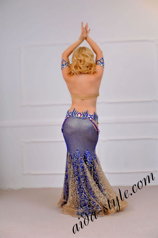 mermaid skirt blue belly dance costume (1) with separate belt