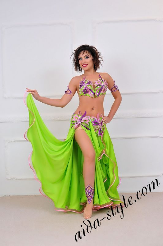 light green multicolored belly dance costume with circular skirt
