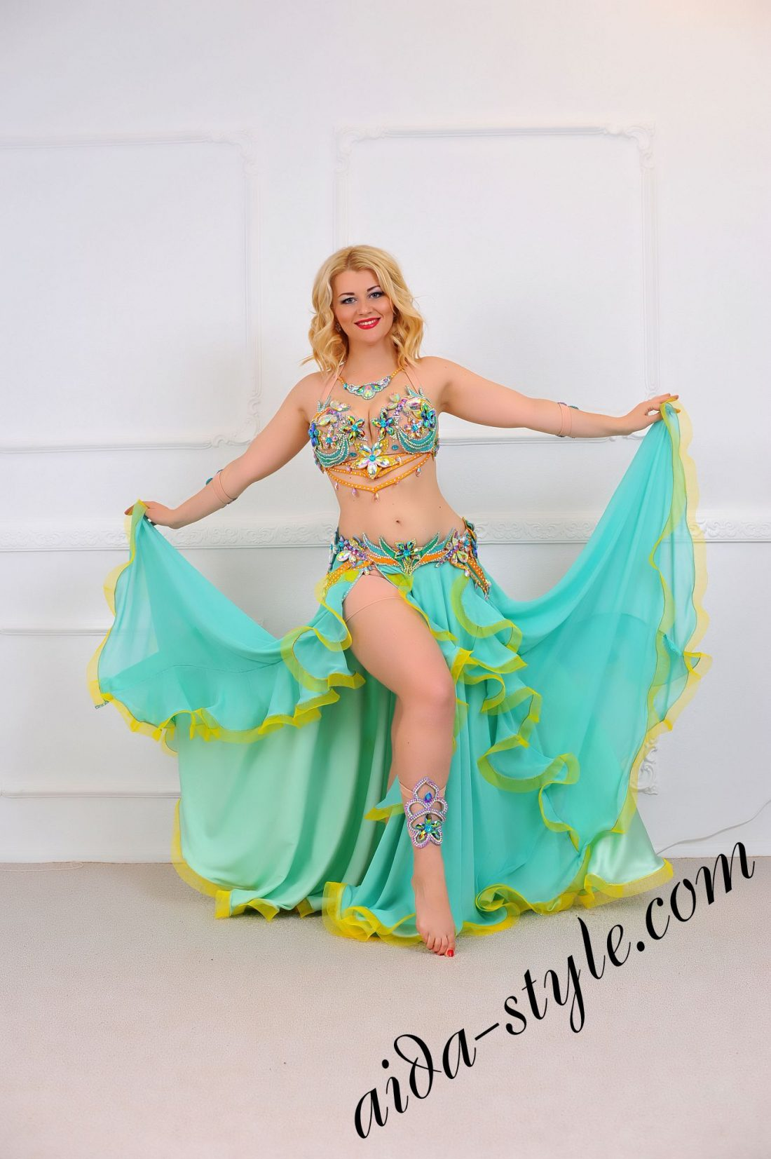 multicolored belly dance costume for pro dancers (1) by Aida Style