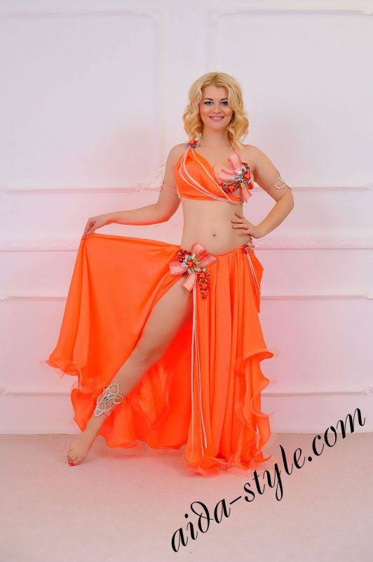 orange belly dance costume (1) with circular skirt