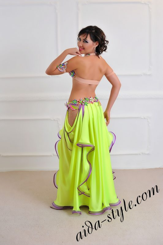 oriental style belly dance costume for professional dancers, free circular skirt, separate detachable belt