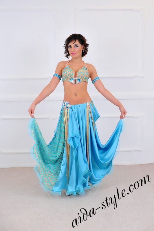 light blue pro belly dance costume with free skirt in light blue color (4)