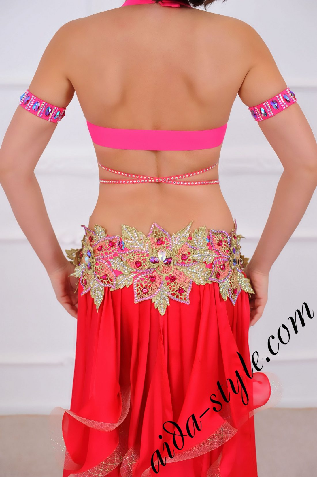 pro belly dance costume with wide circular skirt in coral and gold color