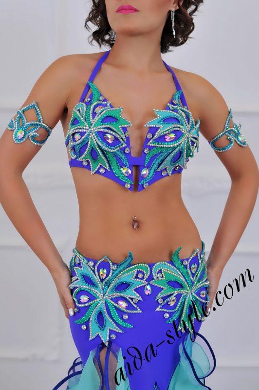 purple & blue designer belly dancing costume with mermaid skirt