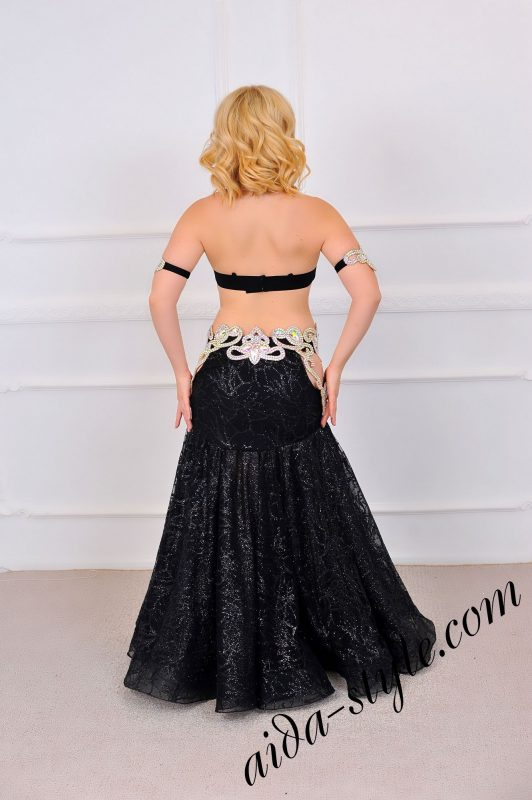 belly dance black costume design by aida style (4) with wide circular skirt