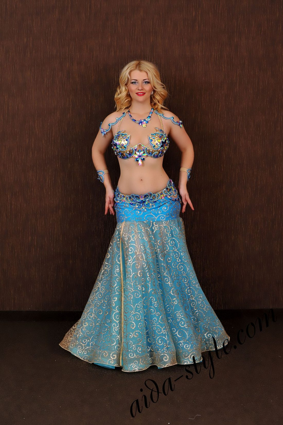 blue belly dance costume design by aida style (6) with golden shining fabric, separate belt, wide bouffant skirt