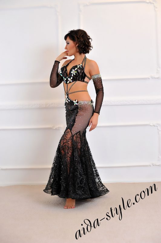 ultra stylish black belly dance costume for stage with mermaid skirt by Aida Style