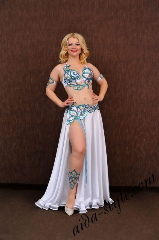 white and blue belly dance costume with wide circular skirt (1) by Aida Style