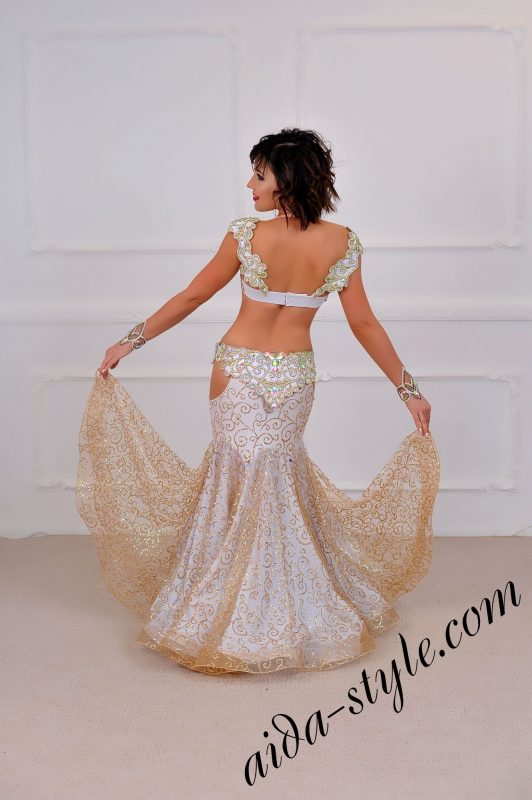 white royal style unique belly dance design by aida style with golden mermaid skirt