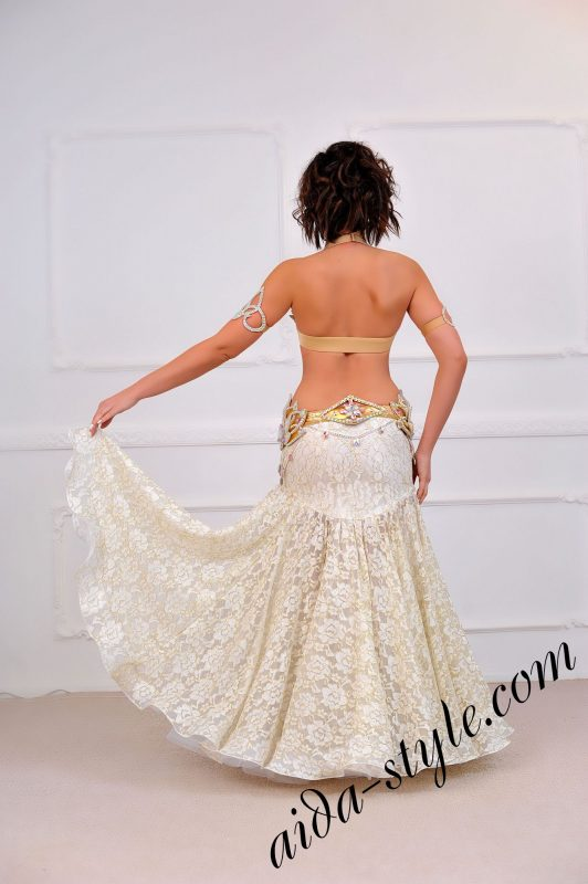 white royal belly dance design by aida style with extra volume and separat, detachable e belt