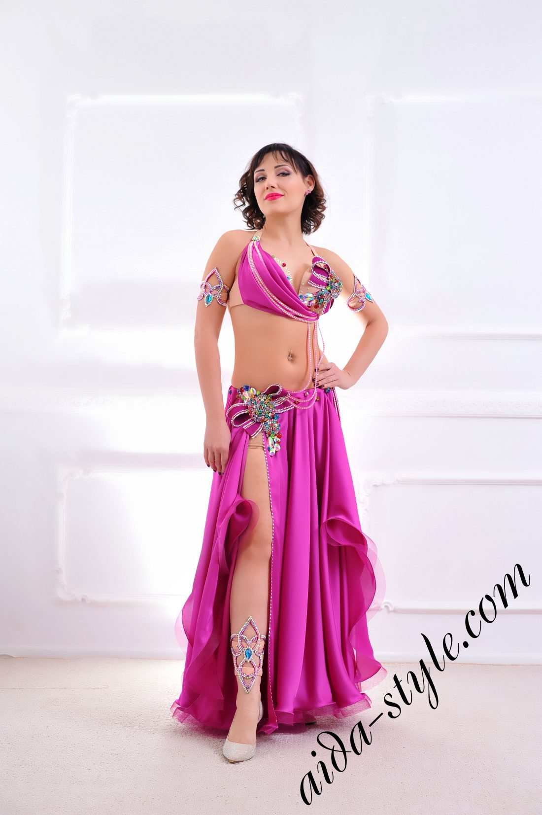 magenta designer's belly dance costume for oriental dance by Aida Style (8) with wide semi circular skirt