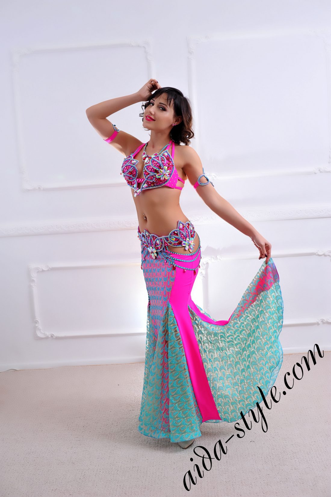 designer's belly dance costume for oriental dance by Aida Style (112) with detachable belt and mermaid skirt