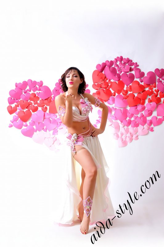 lovely white & pink designer's belly dance costume for oriental dance by Aida Style (16) with semi circular skirt