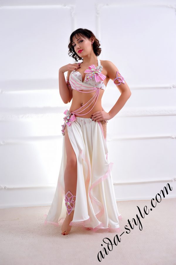 lovely white & pink designer's belly dance costume for oriental dance by Aida Style (16) with semi circular skirt, nude hip