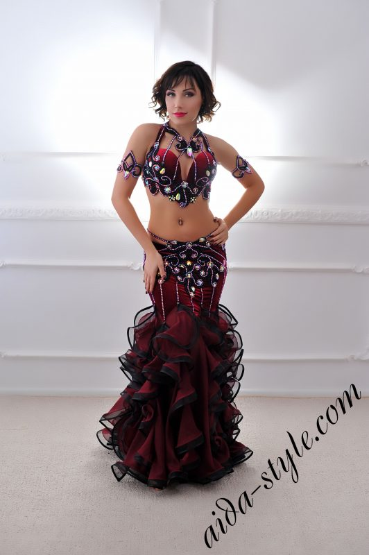 bordeaux designer's belly dance costume for oriental dance by Aida Style (25) with mermaid skirt