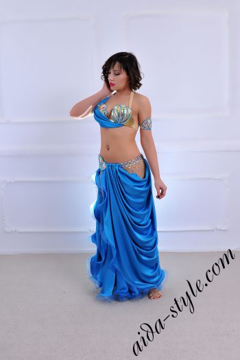 blue designer's belly dance costume for oriental dance by Aida Style (35) with open hip and beautiful drapped skirt