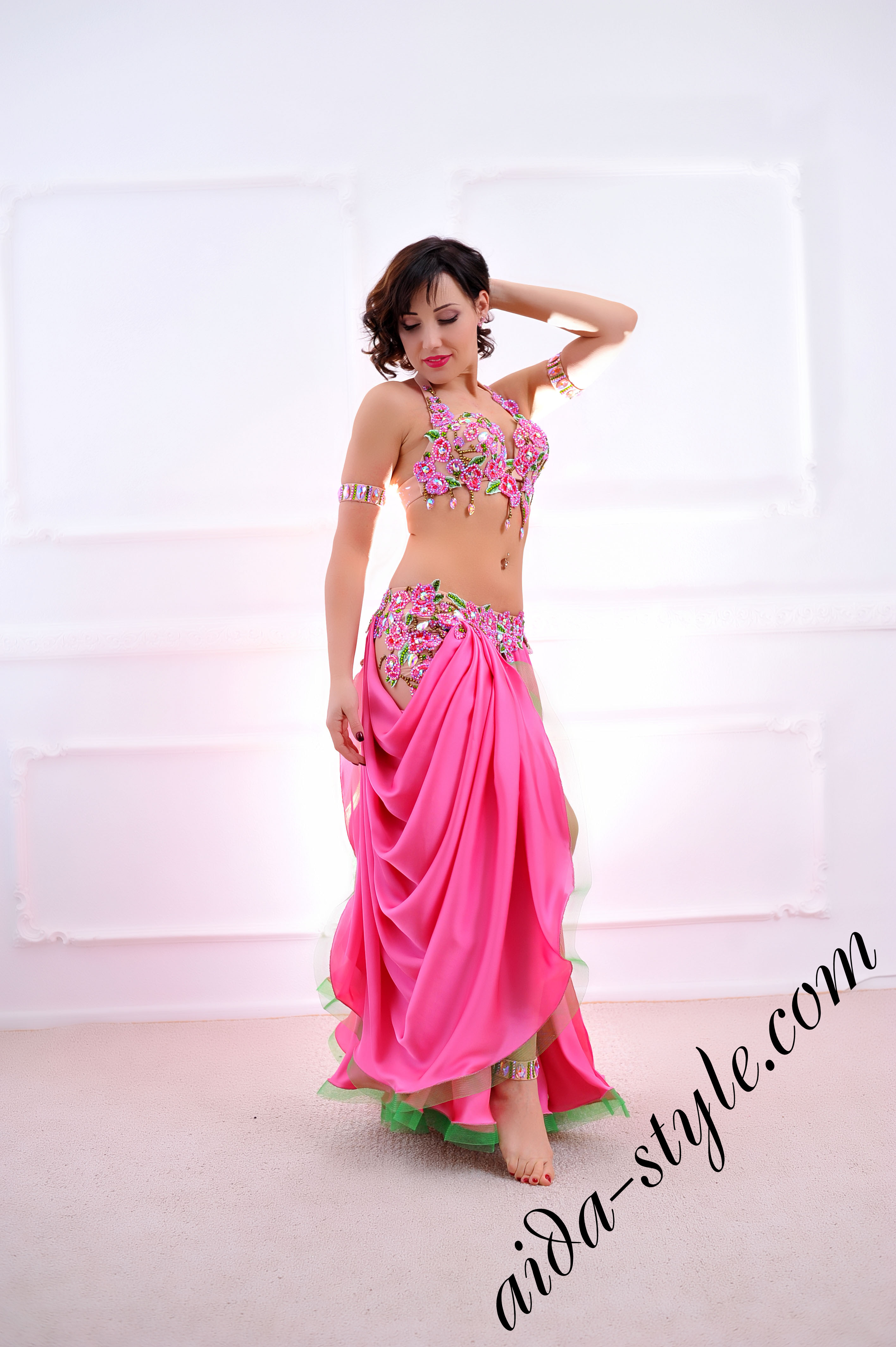 Pink Flower Belly Dance Costume Aida Style