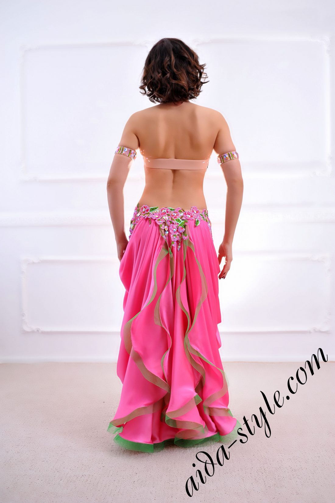 pink designer's belly dance costume for oriental dance by Aida Style (43) with beautiful free skirt