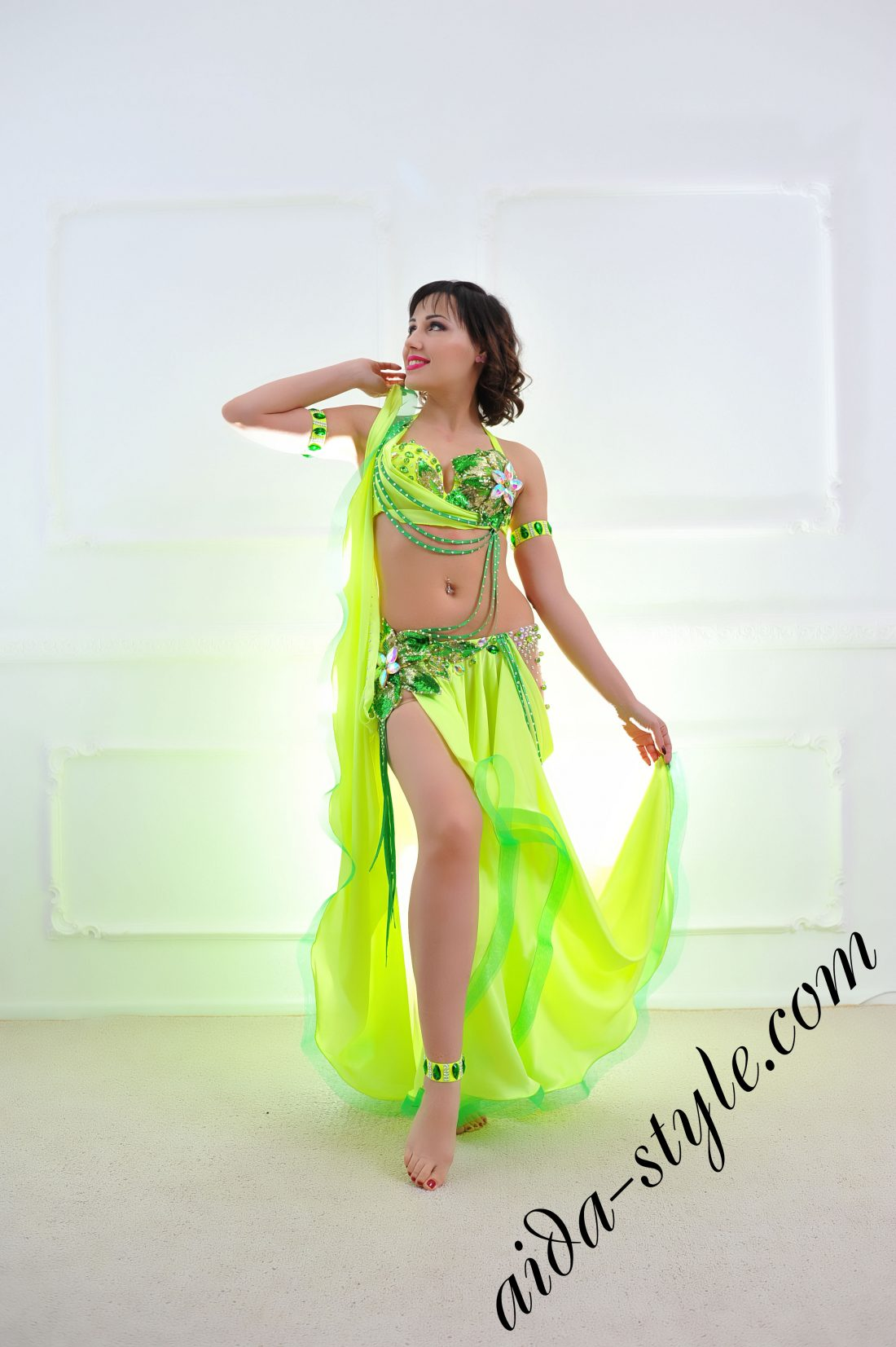 neon yellow designer's belly dance costume for oriental dance by Aida Style (47) with wide free skirt