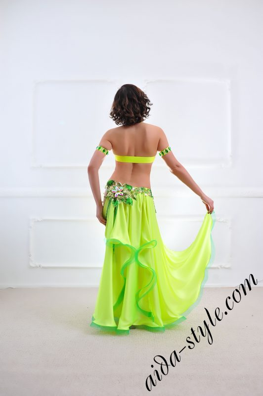 lemon designer's belly dance costume for oriental dance by Aida Style (47) with wide free skirt