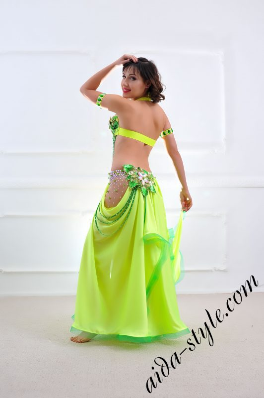 yellow designer's belly dance costume for oriental dance by Aida Style (47) with wide free skirt