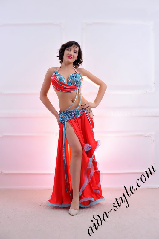 red and azure blue designer's belly dance costume for oriental dance by Aida Style (56)