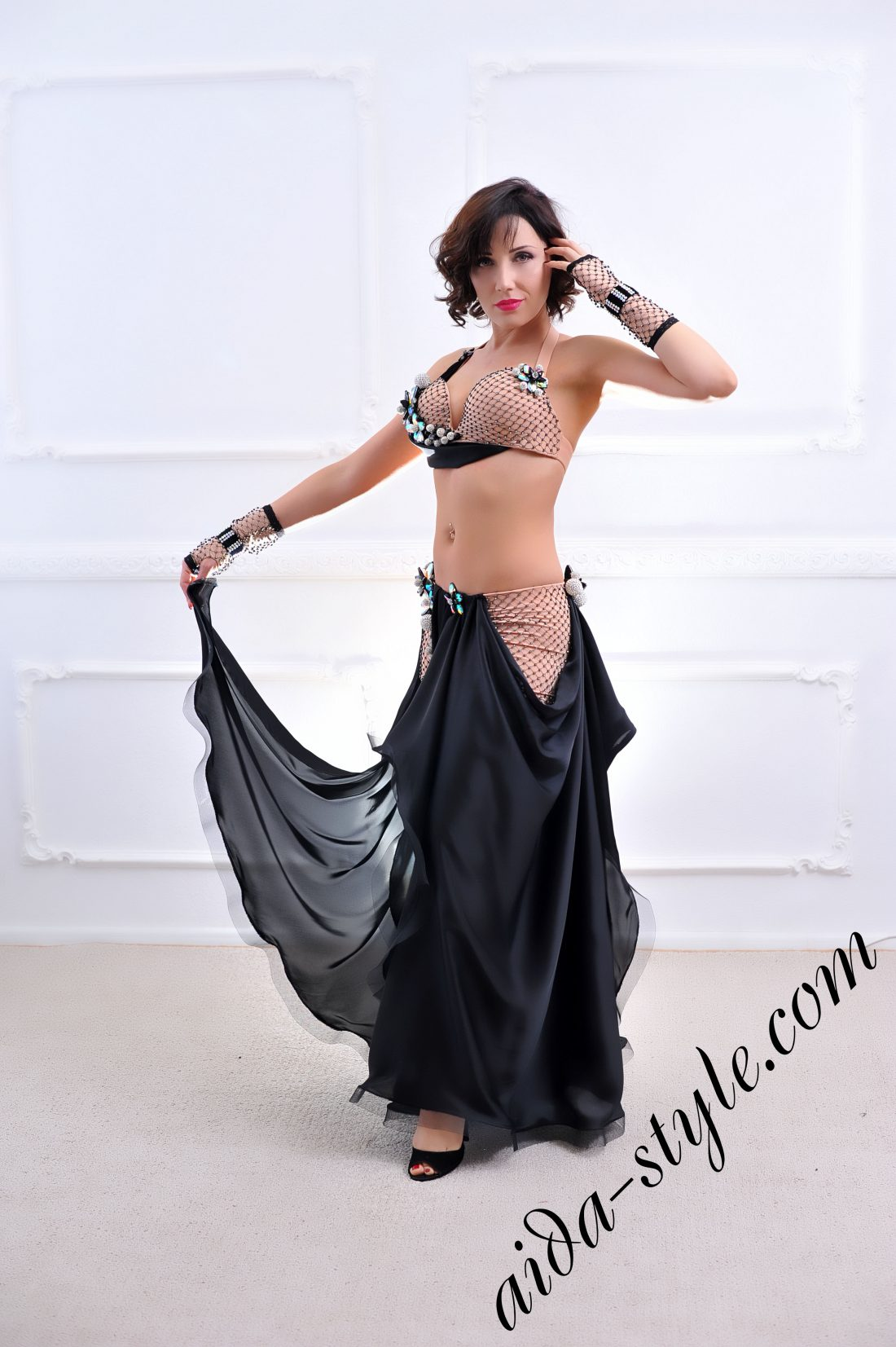 black designer's belly dance costume for oriental dance by Aida Style (65) with wide circular skirt