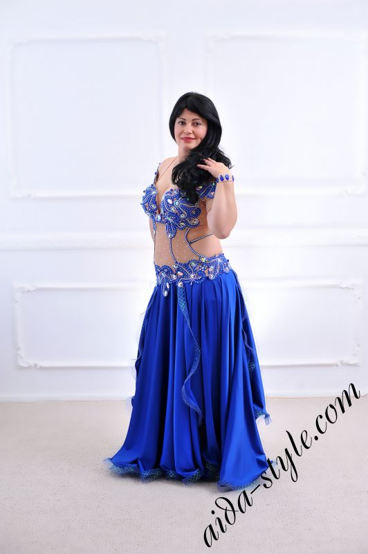 blue dress with covered belly _designer's belly dance costume for oriental dance by Aida Style with circular skirt
