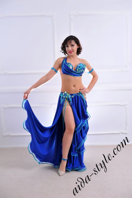 blue designer's belly dance costume for oriental dance by Aida Style (73) with wide free skirt