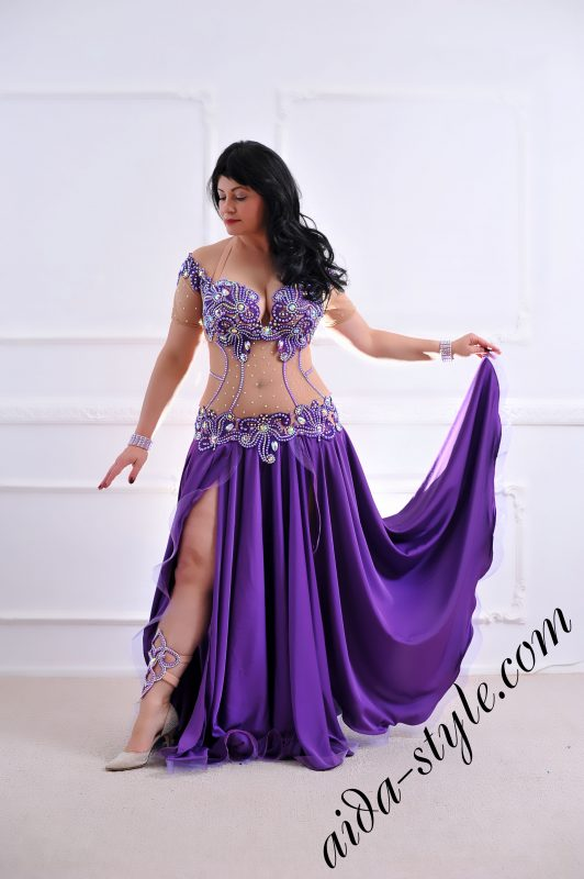purple dress with covered belly _designer's belly dance costume for oriental dance by Aida Style with circular skirt