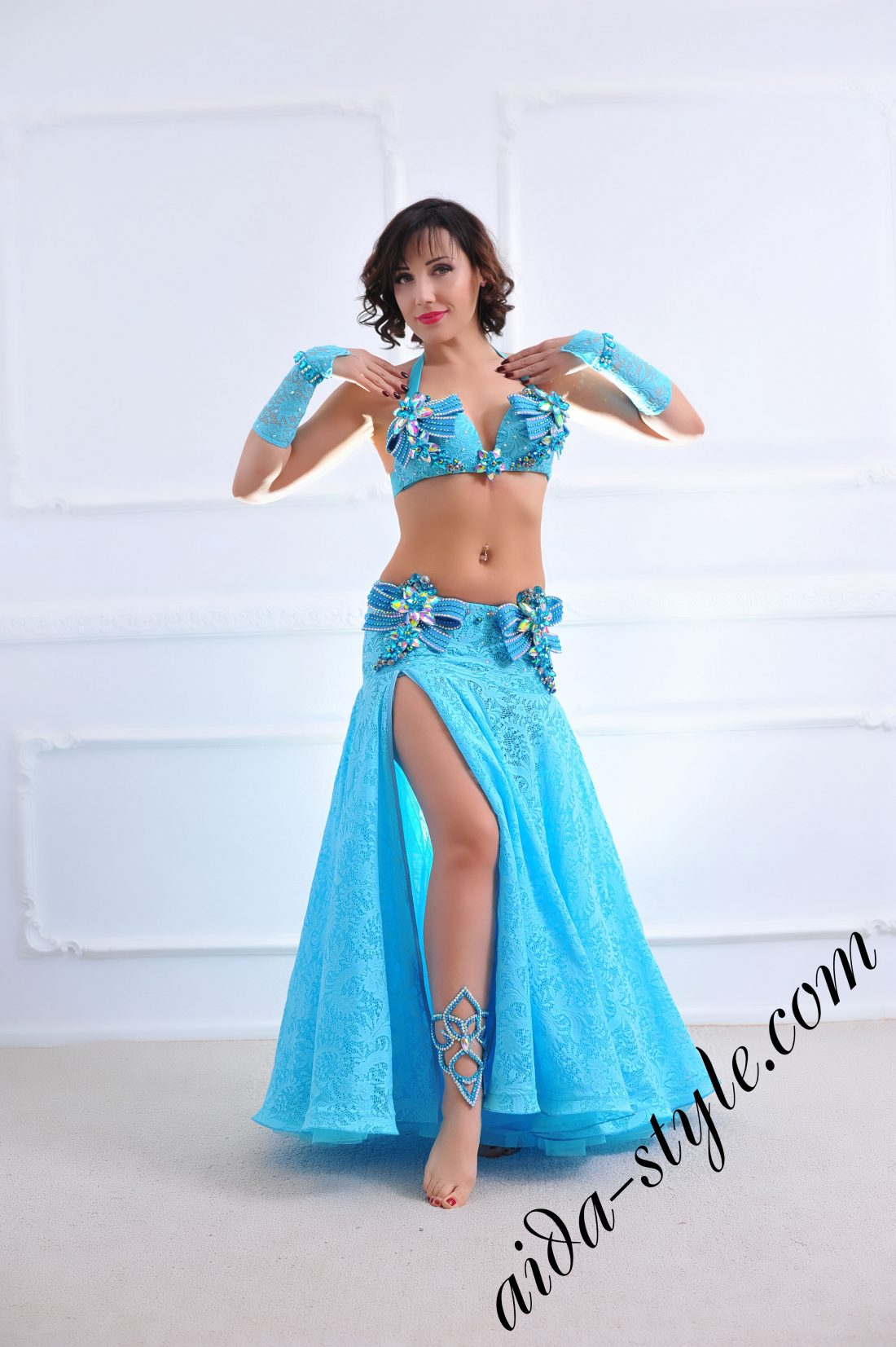 designer's belly dance costume for oriental dance by Aida Style (80) in azure blue color with wide circular skirt