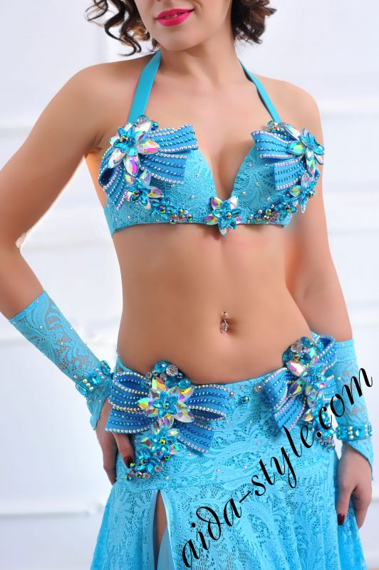 designer's belly dance costume for oriental dance by Aida Style (80) in azure blue color