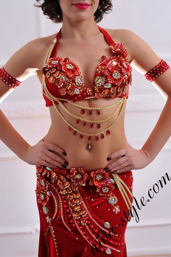 designer's belly dance costume for oriental dance by Aida Style (84)_red with mermaid skirt